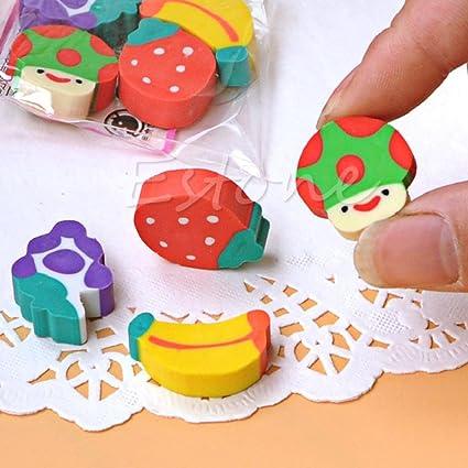 Manyo - Lote de 50 gomas de borrar con forma de fruta, goma Kawaii Macaron, para surtido de niños, fiestas, bolsas de regalo, suministros escolares y papelería: Amazon.es: Oficina y papelería