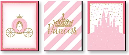 Amazon Com Big Dot Of Happiness Little Princess Crown Castle Nursery Wall Art And Kids Room Decorations Gift Ideas 7 5 X 10 Inches Set 3 Prints Toys Games