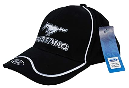 Amazon.com  Mustang with Ford Logo Embroidered Hat (Solid Black)  Clothing a545daa156b2