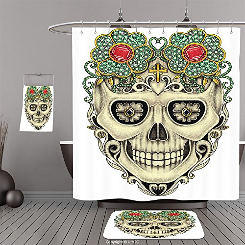 Three Stooges Mask (Uhoo Bathroom Suits & Shower Curtains Floor Mats And Bath TowelsDay Of The Dead Decor Scary Skull Mask like with Gems and Stones for Festival Reseda Green and BeigeFor Bathroom)