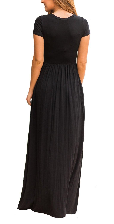 DEARCASE Women Short Sleeve Loose Plain Maxi Dresses ...