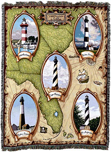 (Pure Country Weavers - Lighthouses of The Southeast Harbor Town Cape Hateras Bodie Saint Augustine Tybee Island Woven Tapestry Throw Blanket with Fringe Cotton USA)
