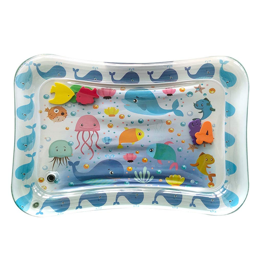 oldeagle Colorful & Fun Leakproof PVC Water Adorable Tummy Time Floor Water Mat for Infants, Engaging & Stimulating Vibrant Play Activity Center