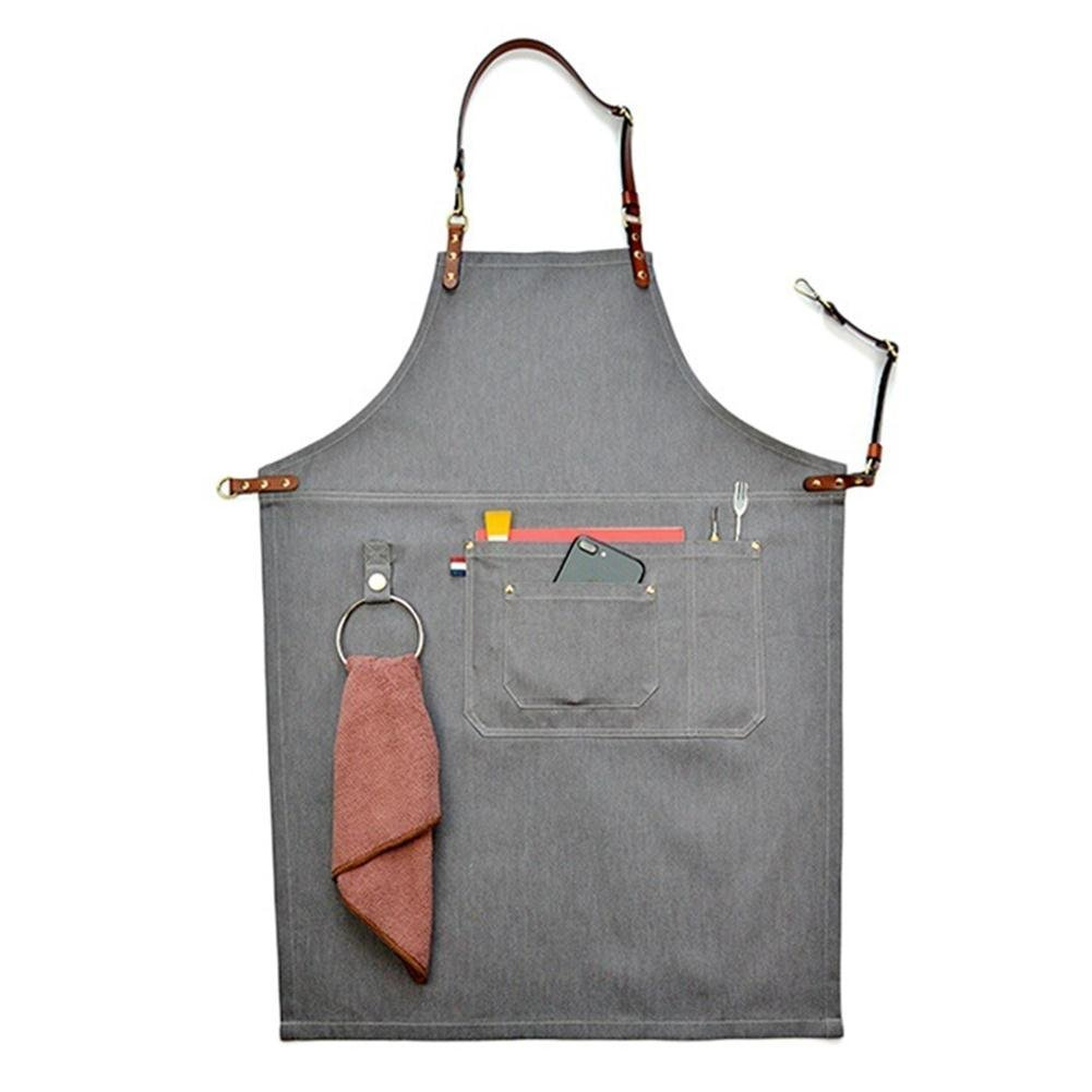 Big-sized Work Apron Stylish Durable Denim Coffee/Chef/ Workshop Apron Pockets and Pen Holder, Adjustable Waist Ties & Leather Neck Strap Tool Aprons for Women Men HSW053-B-US (M:54-80cm, A)