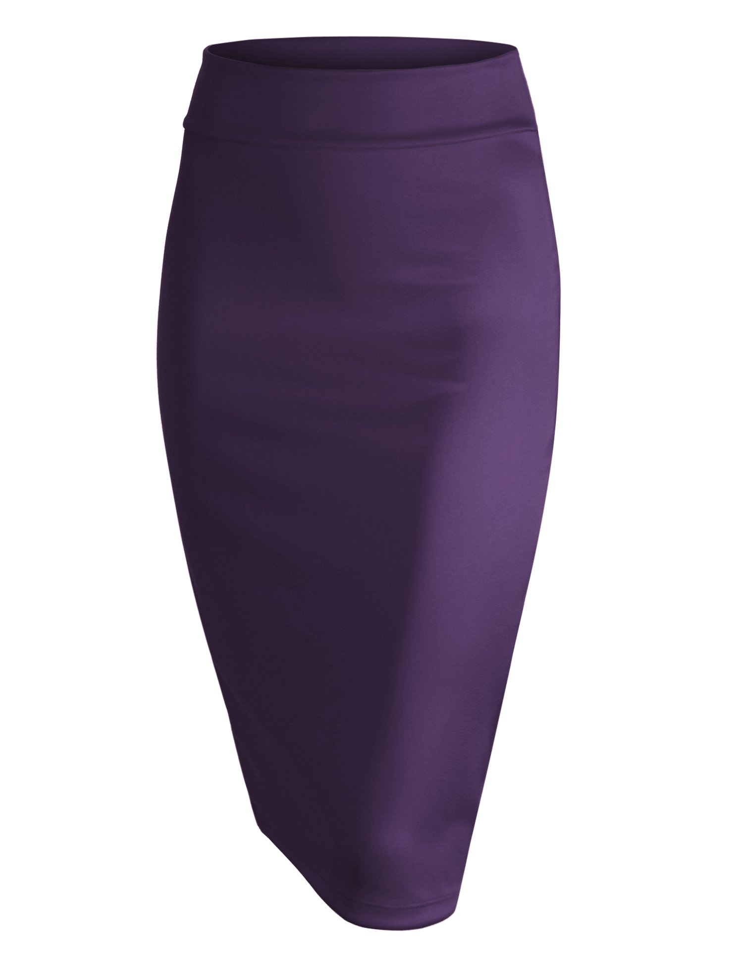 Made By Johnny WB700 Womens Scuba Midi Skirt L Eggplant by Made By Johnny