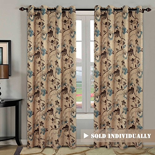 H.Versailtex Vintage Floral with Brown Aqua Taupe Pattern Blackout Living Room Window Curtains,Copper Grommets,52 by 84 inch Long-Set of 1 Panel