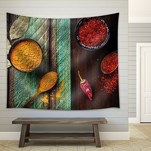Chili Paprika Turmeric and Bay Leaves on Wooden Green and Brown Background Fabric Wall Tapestry