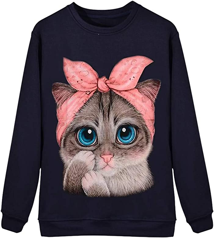 Sudadera Mujer Tumblr, K-Youth Suelta 3D Gato Estampado ...