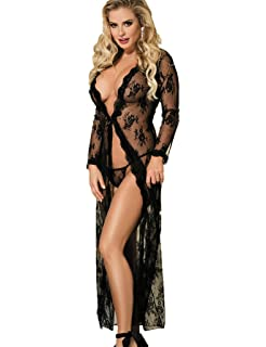ohyeah Women Sheer Lace Nightwear Long Sleeve See Through Nightgown 50453774b