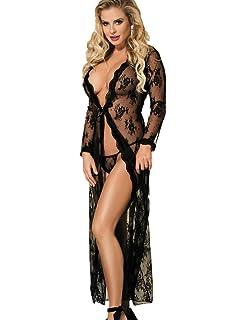 ohyeah Women Sheer Lace Nightwear Long Sleeve See Through Nightgown 6d1fce2d0