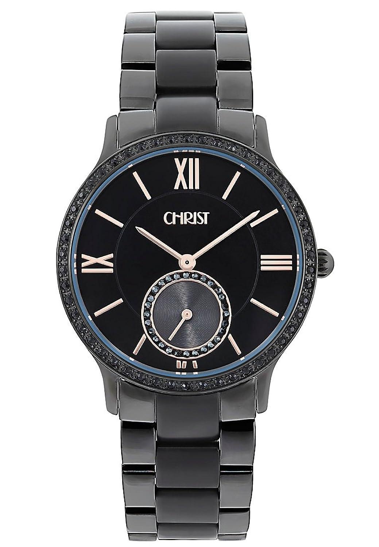CHRIST times Damen-Armbanduhr Analog Quarz One Size - schwarz - schwarz