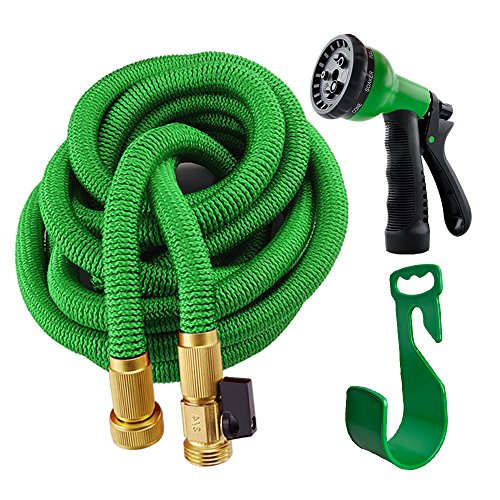 Expanding Garden Hose with Hanger,Kamlif Expandable Garden Hoses With Spray Nozzle,Strongest TPS,Solid Brass Connector Fitting ( 3/4 Inch By 25 Feet,Green )