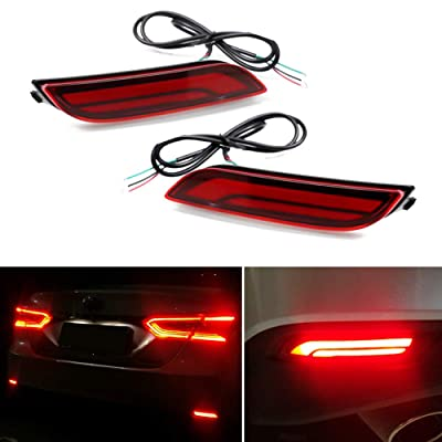 GTINTHEBOX 3D Optic LED Rear Bumper Reflectors Brake Tail Lights and Sequential Turn Signal Lamps for 2020 2020 Toyota Camry - Red Lens: Automotive