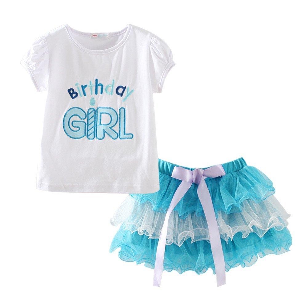 LittleSpring Toddler Girl Birthday Shirt and Tutu Set 3T Blue