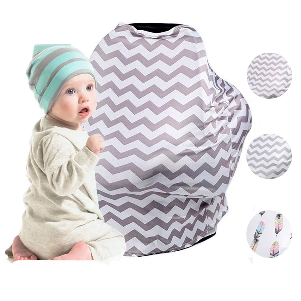 Nursing Cover Scarf,Baby Breastfeeding Car Seat Canopy, Shopping Cart, Perfect Skirt,High Chair, Stroller and Carseat Covers 6-in-1 Canopy & Nursing Cover for Boys and Girls- Best Gift for Mom