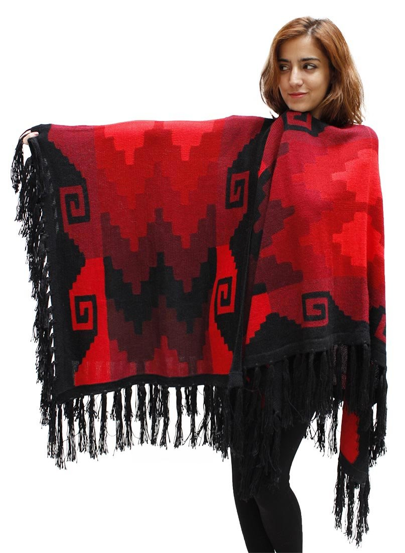 Women's Superfine Alpaca Wool Intarsia Handmade Fine Cape Ruana Poncho Wrap One Sz (Black & Red)