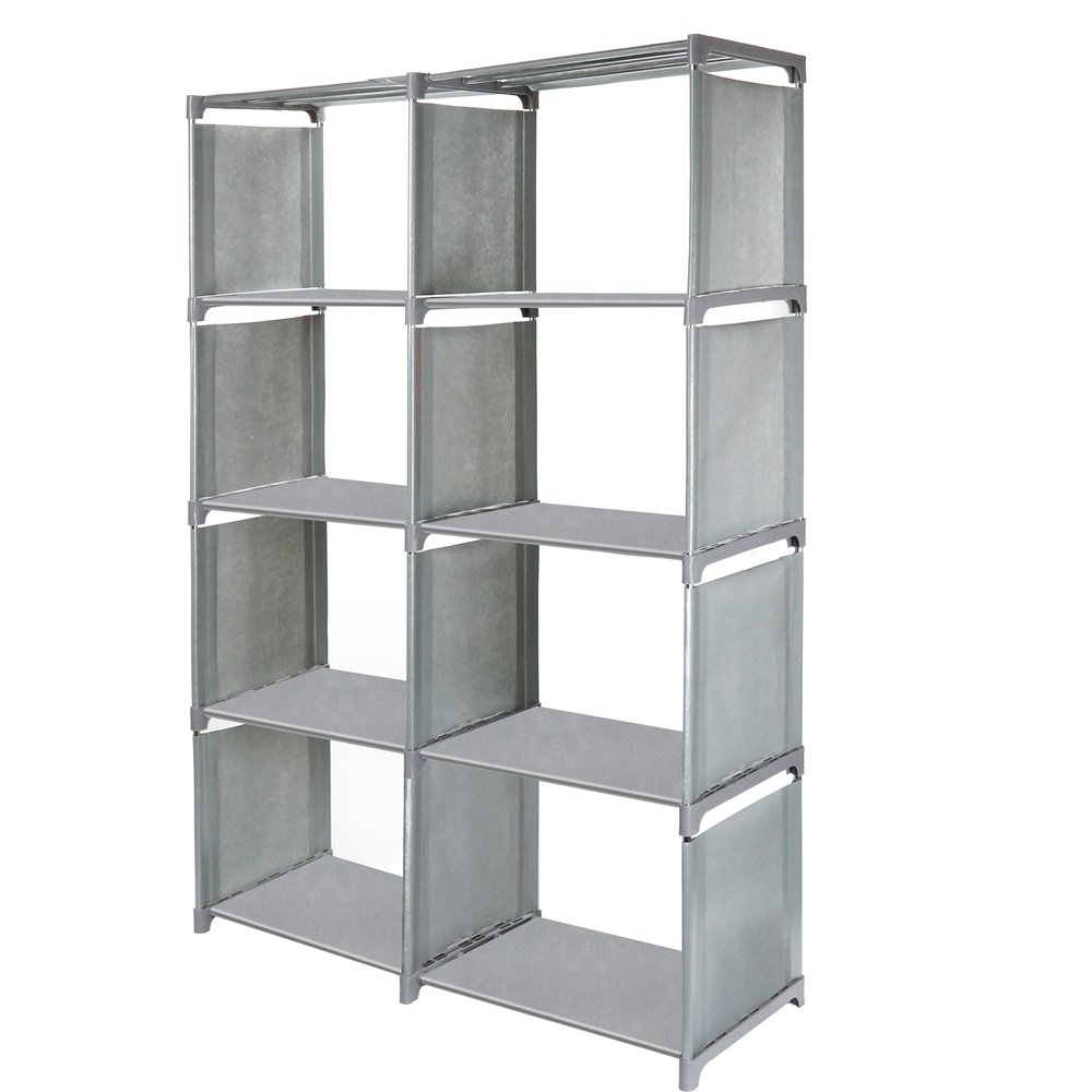 Jollyoner 4-tier Storage Cube Closet Organizer Shelf, DIY 8-cube Bookcase Cabinet without Doors for Bedroom, Living Room and Office Gray