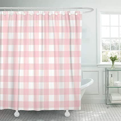 Emvency Fabric Shower Curtain With Hooks Red Check Pastel Pink Plaid Gingham Checkered Pattern Abstract Checker