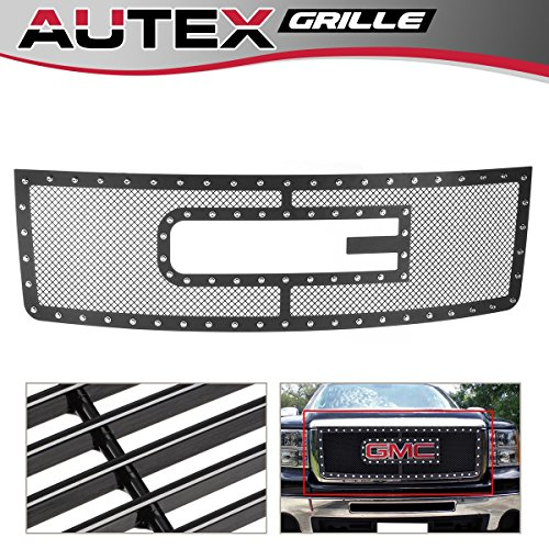AUTEX Bolt Over Mesh Grille Grill Insert Compatible With 07-12 GMC Sierra 1500/07-10 Sierra Denali New Body GL6474H