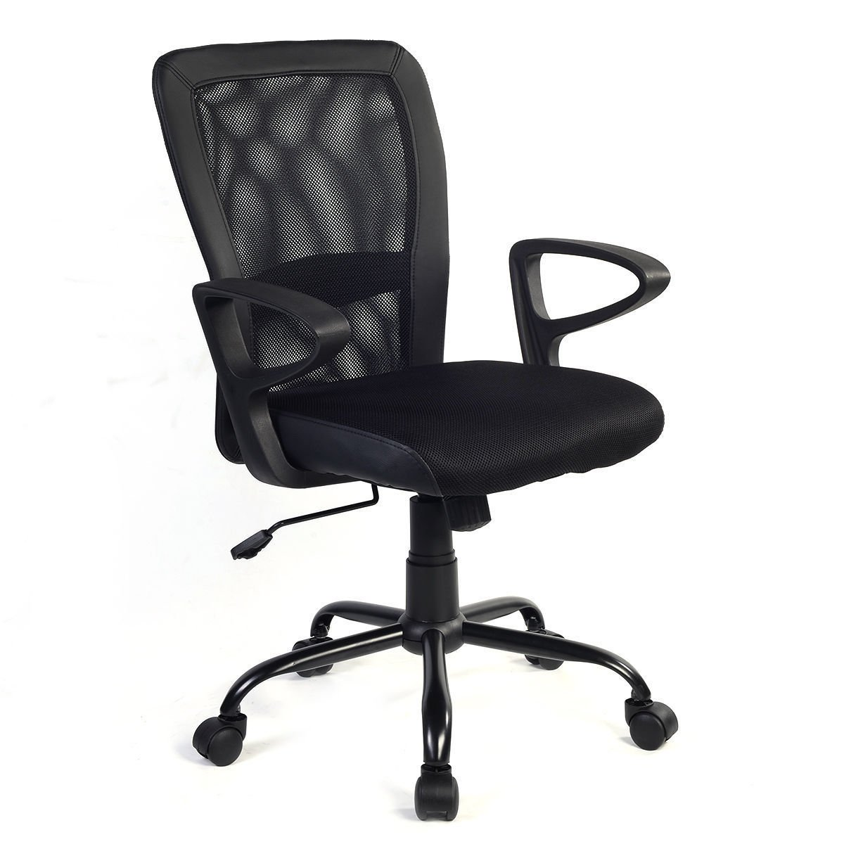 Giantex Mesh Task Ergonomic Office Chair Chair Adjustable Height Padded Seat Mesh Leather Bonded Back Executive Computer Desk Chair w/Arms, Black