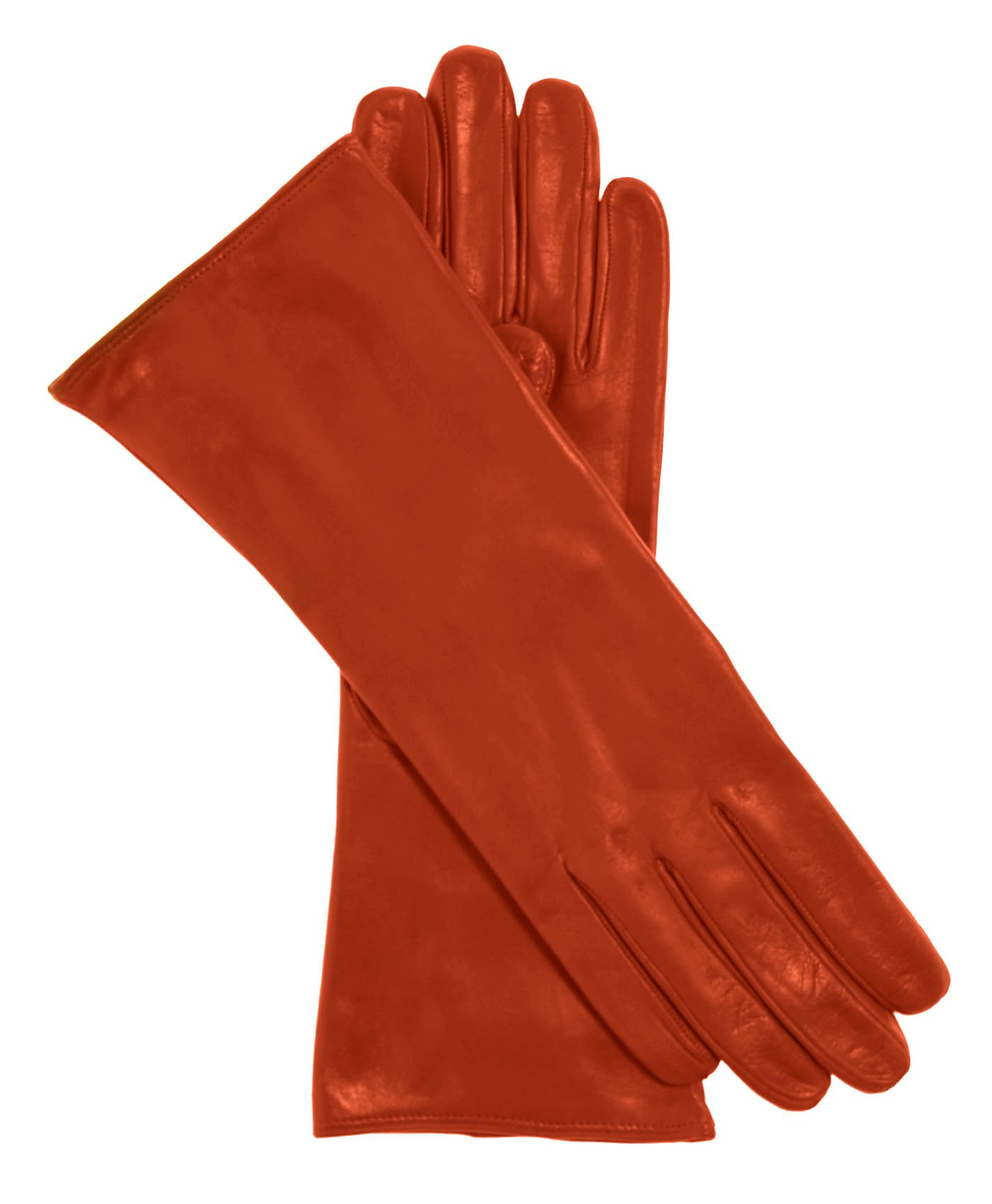 Fratelli Orsini Women's Italian ''4 Button Length'' Cashmere Lined Leather Gloves Size 7 1/2 Color Pumpkin by Fratelli Orsini