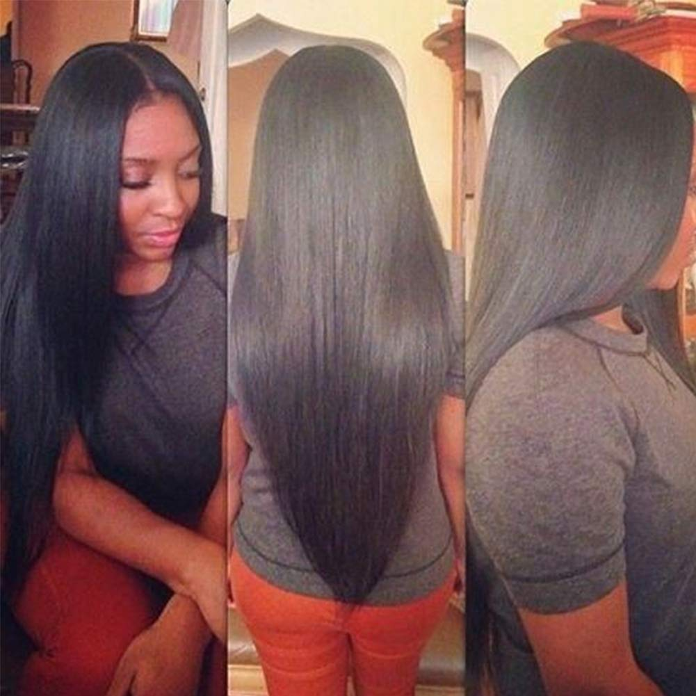 Subella Brazilian Straight Hair 3 Bundles 14 16 18inch Grade 9A Virgin Straight Human Hair Bundles Natural Black Color Hair Weave by Subella (Image #1)