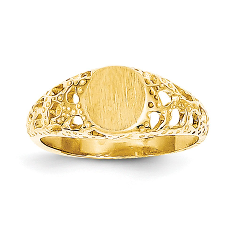 Baby and Children 14K Yellow Gold Fancy Signet Ring by Qgold