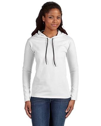 08f127aa2005 Anvil 887L Women's Lightweight Long Sleeve Hooded T-Shirt: Amazon.co ...