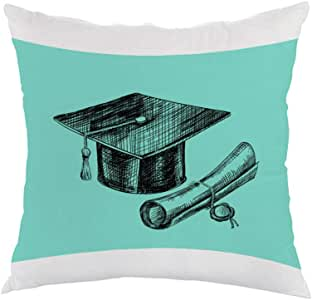Graduation Day Logo Printed Pillow, white velvet Fabric 40X40 cm