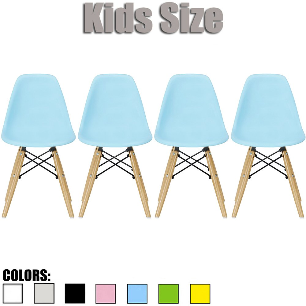 2xhome - Set of Four (4) - Blue - Kids Size Eames Side Chairs Eames Chairs Blue Seat Natural Wood Wooden Legs Eiffel Childrens Room Chairs No Arm Arms Armless Molded Plastic Seat Dowel Leg…