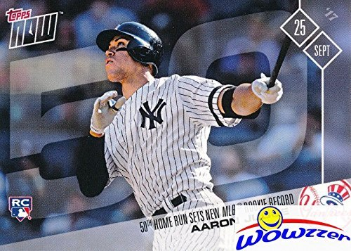 Aaron Judge 2017 Topps Now #654 50th HOME RUN Record Breaker Card! Judge Sets NEW MLB ROOKIE RECORD Passing Mark McGwire! in MINT Condition! Shipped in Ultra Pro Top loader - Home Mark Mcgwire Runs