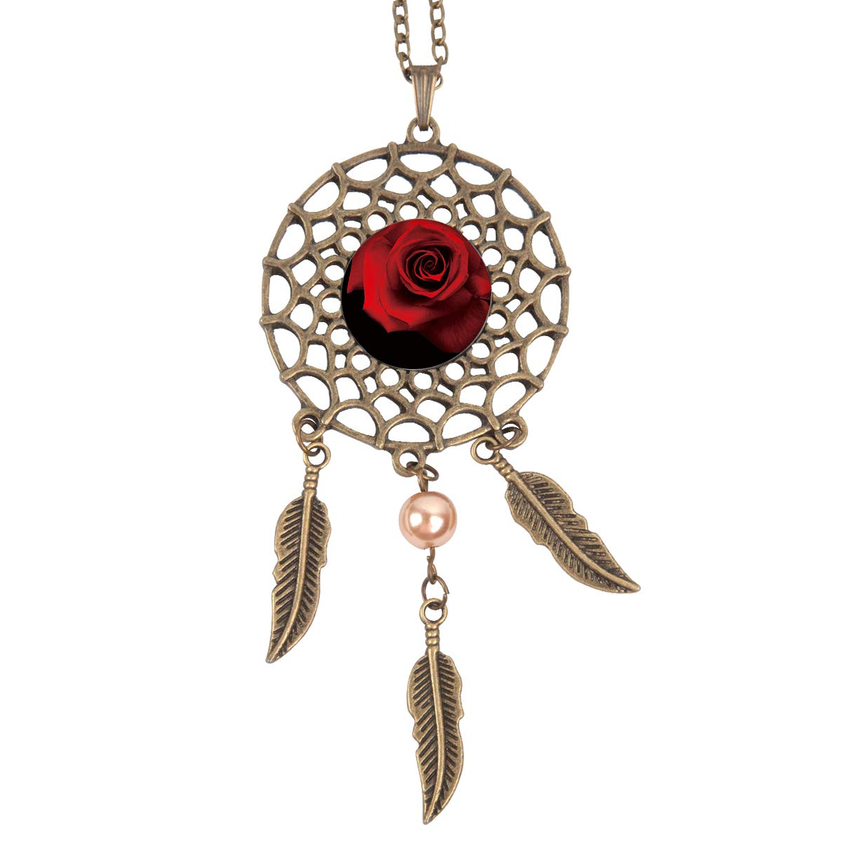 Queen Area Dream Catcher Necklace Rose Pendant Dangling Feather Tassel Bead Charm Chain Jewelry for Women
