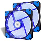 Kyerivs 2 Pack Performance Silent Fan, 120mm Computer Cases, Long Life Bearing, Quiet Efficient Cooling, Special High Profile Fan Blades For Maximum Air Flow-[Blue LED]