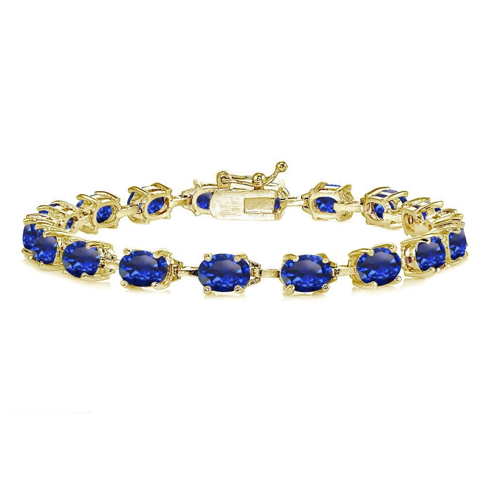 Yellow Gold Flashed Sterling Silver Created Blue Sapphire 7x5mm Oval Classic Link Tennis Bracelet