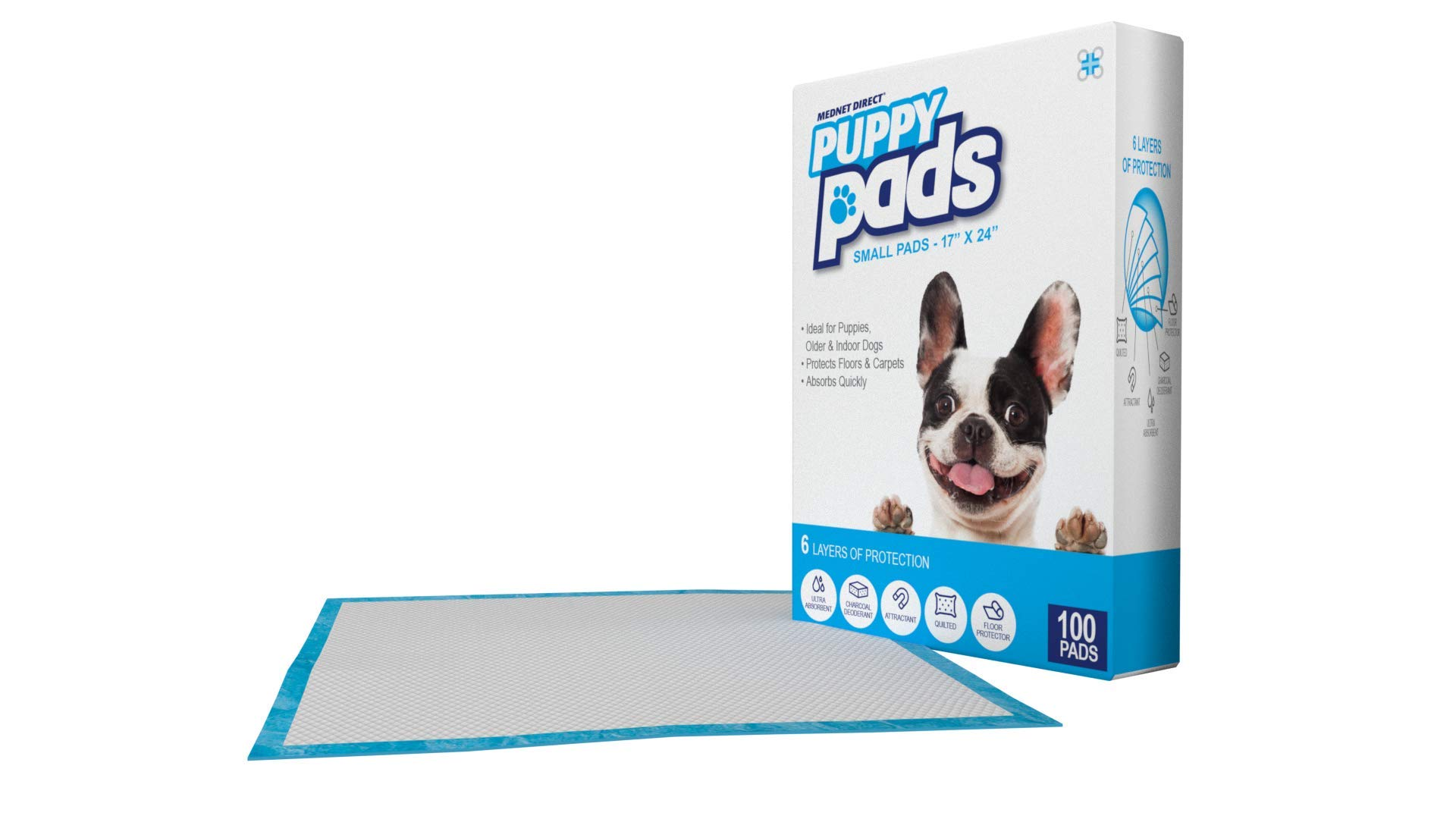 Mednet Direct 6 Layer Dog Training and Puppy Pads for Pets With Deodorant and Attractant, 17 x 24, 100 Count