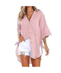 ❤Tefamore Longue à Manches Longues pour Femmes T-Shirt en Coton pour Femmes (FR-38/CN-L, Rose)