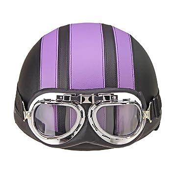 Purple+Black Oshide Bike Scooter Motorcycle Half Helmet with Goggles Glasses Visor for Women Men
