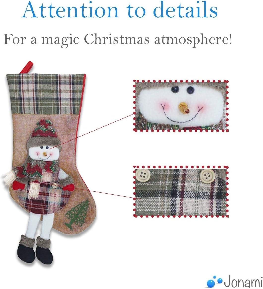 Jonami 1 Bas de Noel Bottes de No/ël Decorations de Noel 3D Chaussette pour Remplir et Suspendre des Cadeaux