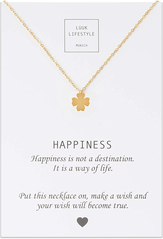 Collares de acero con diferentes colgantes y cita HAPPINESS, amuletos de la suerte, cadenas de amistad, regalos, joyas de mujer, oro, plata, rosé