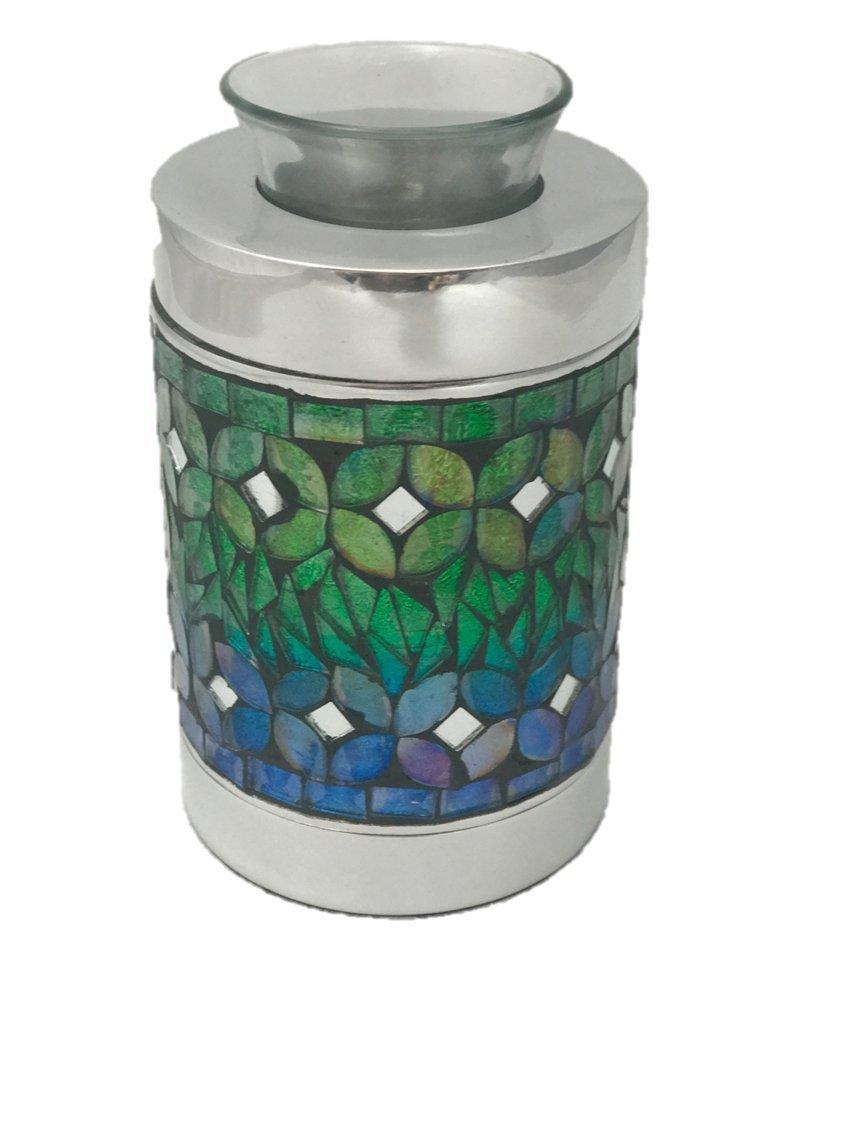 Blue Mosaic Tealight Keepsake Cremation Urn, Memorial Candle Cremation Urns, Funeral Tokens, Small Size Keepsake