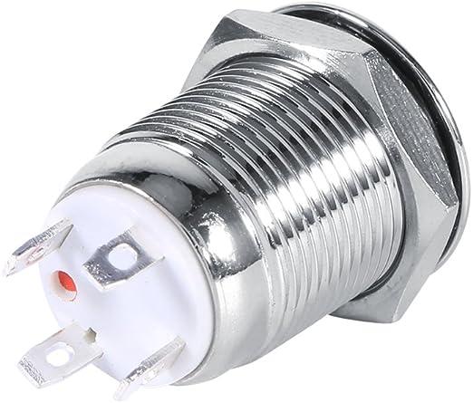 White Qiilu 12mm Circle LED Waterproof Metal Momentary Push Button Switch High Flush 4 Pin 1NO