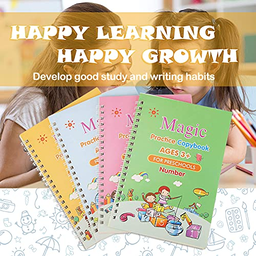 Magic Practice Copybook for Kids, 4 Pcs Reusable Magical Calligraphy English Study Workbooks Tracing Handwriting Copybook Set for Letter Writing Drawing Mathematics (4 Books with Pen)