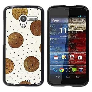 TopCaseStore / la caja del caucho duro de la cubierta de protección de la piel - Brown Black Polka Dot Pattern Beige - Motorola Moto X 1 1st GEN I XT1058 XT1053 XT1052 XT1056 XT1060 XT1055