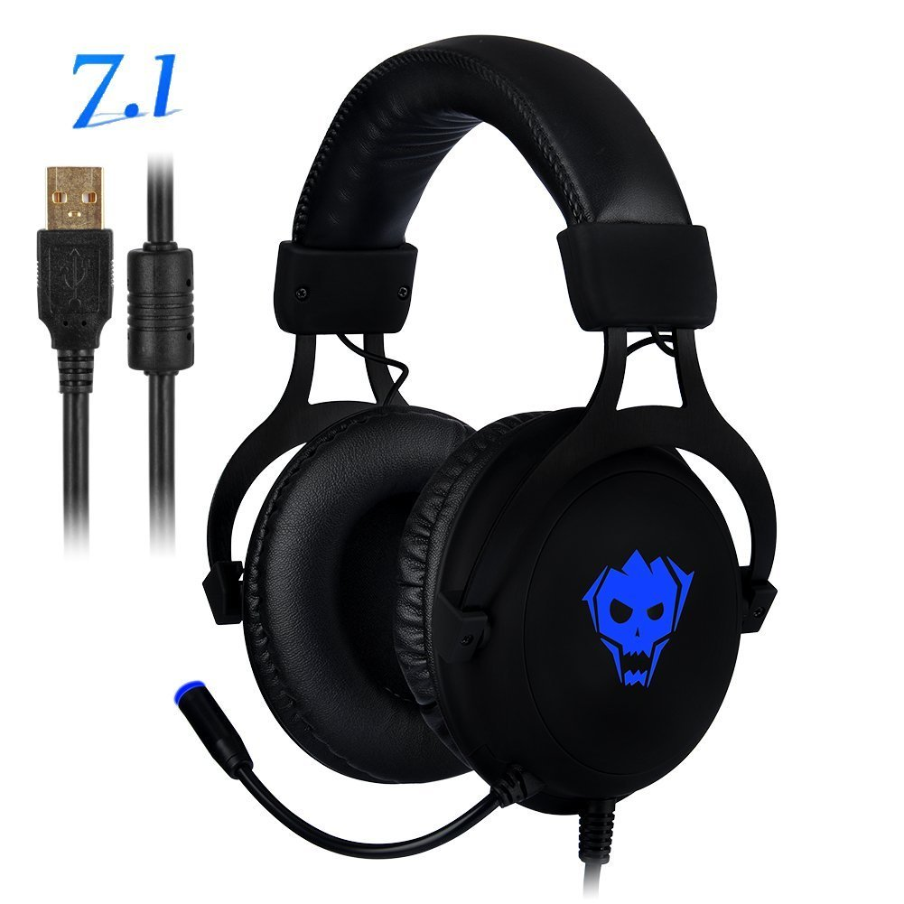 PC Gaming Headset,AWON Professional 7.1 Channel Virtual USB Surround Stereo Earphones with 57mm Driver Wired Gaming Headset,Noise Isolating LED Light,Gaming Headphone for PC,Laptop, Computer(Black) by Awon (Image #1)