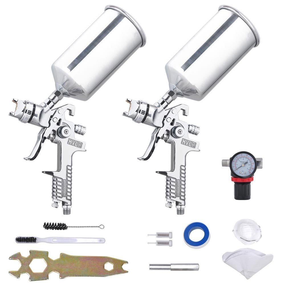 Professional 6-Piece 2 Sprayer HVLP Spray Gun Kit Auto Feed Paint Gravity Feed Silver w/ 1.8 mm-1.3mm Stainless Steel Needle Nozzle for Spraying Painting Performance Air Regulator Cleaning