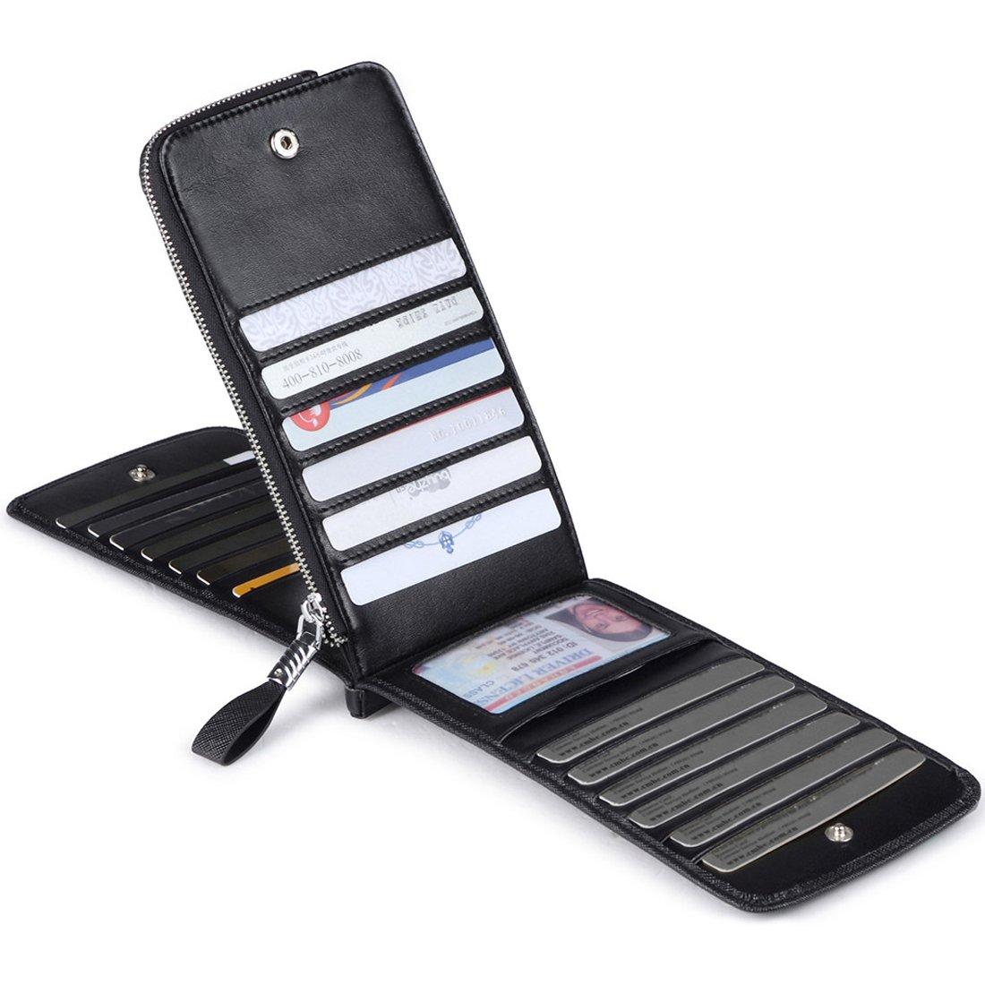 Huztencor Women's Credit Card Holder RFID Blocking Leather Multi Card Organizer Wallet Slim Long Zipper Bi-fold Business Card Case Clutch Wallet with ID Window Black (FBA) by Huztencor (Image #2)