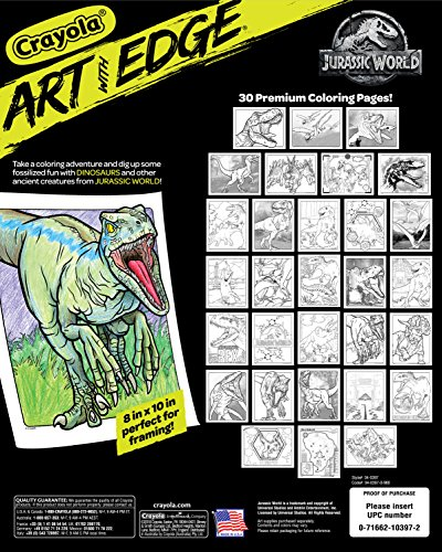 61hcv6S6i1L - Crayola Art With Edge, Jurassic World Coloring Book, Gift for Teens, 30 Coloring Pages