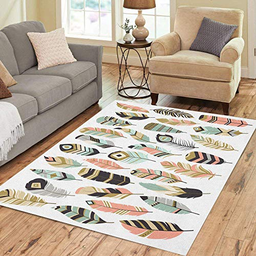 Semtomn Area Rug 2' X 3' Pattern Tribal Feathers Mint Coral Navy and Gold Doodle Home Decor Collection Floor Rugs Carpet for Living Room Bedroom Dining Room