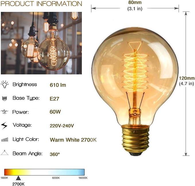 2 Pack Ampoule /à Incandescence Edison Grosse Globe G80 Blanc Chaud 220V 60W Ampoules Industrielle Retro Lampe D/écorative Fancibuy Ampoule Vintage Filament E27