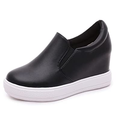 41e506e0818f PP FASHION Women s Korean Style Low Top Hidden Heel Wedges Loafer Shoes  Fashion Platform Sneakers Black